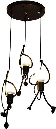 H&RB Moderne Lustre en Fer 3 Personne Dessin animé Design Pendentif Lampe élégante Chambre à Coucher Chambre de Chevet Salon Balcon étude attique Cute Lustre, E27,noir,round3heads