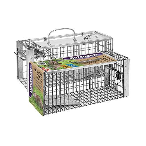 Defenders -Trampa de la jaula de la rata y la ardilla (Humano, fácil de cebo y conjunto, Malla galvanizada de larga duración, trampa lista para el uso de plagas de roedores)