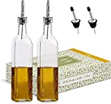 Glass Olive Oil and Vinegar Drizzler Bottle with Pourers, Set of Square Olive Oil Bottles for Dressing and Oil Dispenser for Kitchen, Restaurant and Tableware (Pack of 2 & 2 Spare spouts)