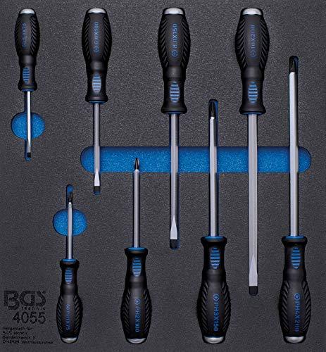 BGS 4055 | Insert de servante d'atelier 2/3 : Tournevis à fente et cruciformes | 8 pièces