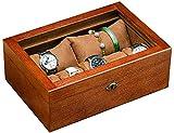 MU Caja de reloj de madera Cajas de joyería Regalo Viaje Hombre Mujer Pulsera de fresno Pulsera con cerradura Caja de colección de llaves,Una sección - con claraboya