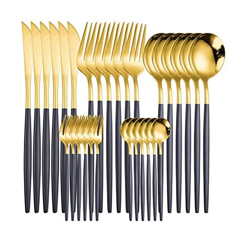 LucaSng - Juego de vajilla (30 piezas, juego de cubiertos de oro blanco, acero inoxidable, juego de vajilla dorada, cuchara occidental, cuchillo de tenedor, juego de cubiertos de oro negro, 6 sets