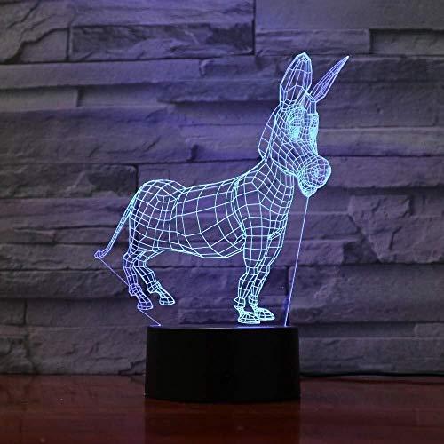 LXJ 3D-Effekte Symphony Laterne Esel Form, LED-Nachtlicht 7-Farb-Umwandlungs-Tischlampe USB-Schnittstelle, Lustige Und Interessante Geschenke, Heimtextilien
