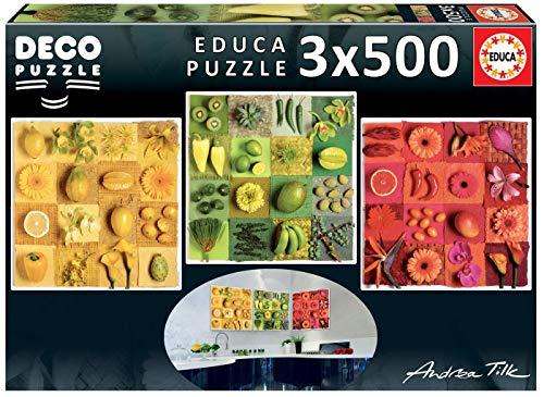 Educa Borras - Serie Deco, 3 puzzles de 500 piezas, Exotic fruits ans flowers, Andrea Tilk (18454)