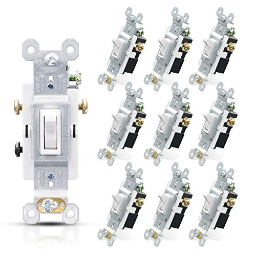 ELEGRP 3 Way Toggle Light Switch 15 Amp 120 V Toggle Framed AC Quiet Switch in Wall On/Off Switch Replacement SelfGrounding Residential and Commercial Grade UL Listed 10 Pack Glossy White