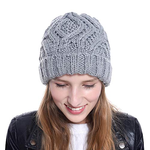 Nogewul Winter Knit Beanie Hats for Women Stretchy Warm Slouchy Knitted Thick Skull Caps Light Grey