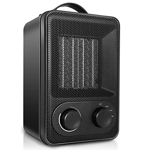 Portable Ceramic Heater with Space Heater with Adjustable Thermostat, Fast heating electric heater in 2 seconds 1500W / 850W Adjustable Electric Heater, Tip-Over & Overheat Protection Electric Heater Space