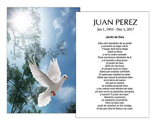Targetas Funerales De Recordatorio (50 Cards) FPC1016ES Dove (Impreso personalizado - Seleccione oración deseada)