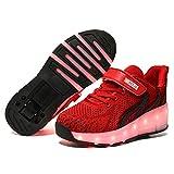 Zapatillas con Ruedas,Niños LED Luces Luminosas Zapatos de Roller Ajustable Rueda Patines Calzado Deportivo al Aire Libre Gimnasia Zapatos de Skateboard para Niña y Niño