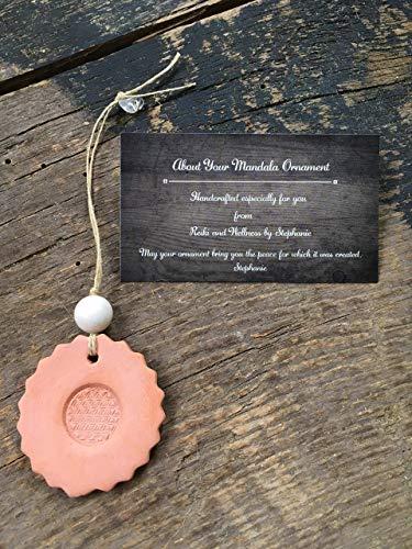 Flower of Life Mandala Hanging Ornament, Terracotta Clay Diffuser, White Jade Stone for Inner Peace