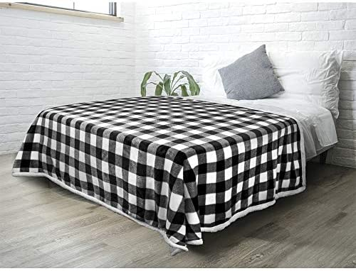 PAVILIA Buffalo Check Sherpa Blanket Throw Queen White Black Checkered Flannel Fleece Blanket product image