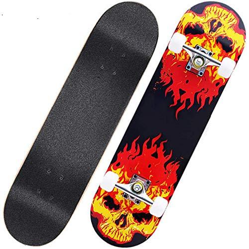 Asdfax Skateboard débutant Monopatín Completo de 31 x 8 Pulgadas, monopatín cóncavo de Arce de 7 Capas, para jóvenes Principiantes-re