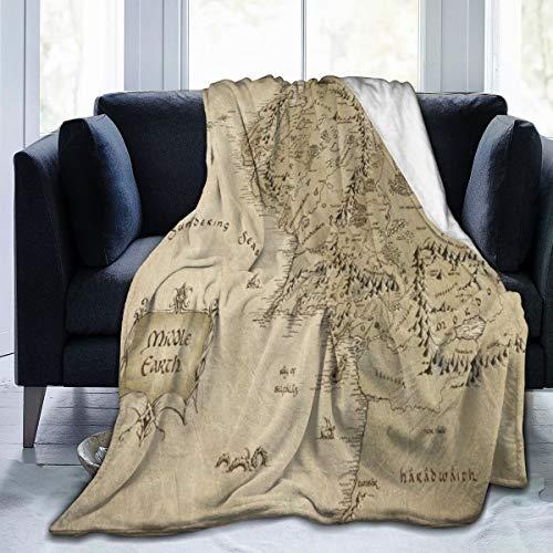 Wearibear Decke Mittelerde Karte Samtdecke gemütliche Polyester Bettdecke Steppdecke hautfreundliche Fleecedecke waschbar Überwurfdecke Teppich für Zuhause Herbst Winter Frühling, weiß, 50