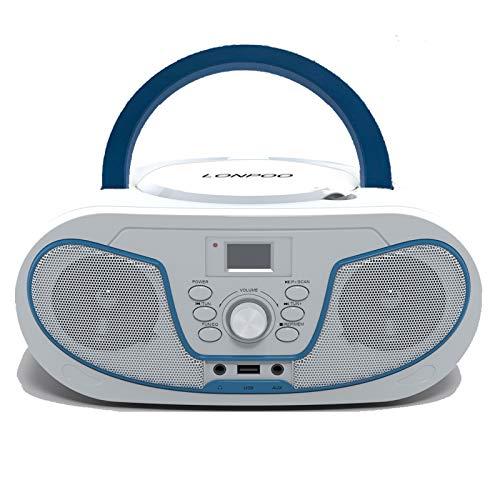DAB Lettore CD Portatile Boombox, Lettore CD MP3 Bambini con USB, Bluetooth, Stereo Radio DAB/FM, AUX IN Jack e Jack per Cuffie