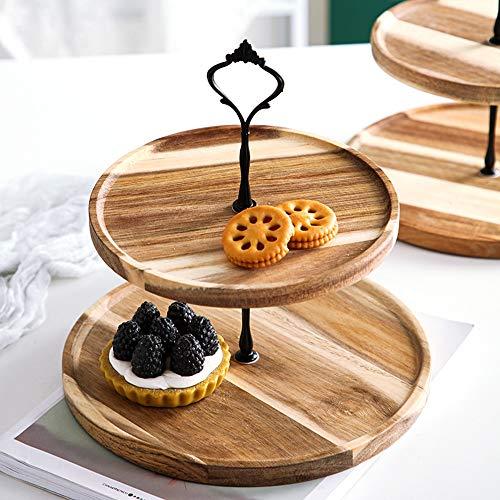 Bandeja de postre de madera, soporte de exhibición de pastel de 2/3 niveles, placa de frutas, torre de plato de la fiesta de la fiesta, conjunto de visualización del servidor de alimentos de fiesta, s