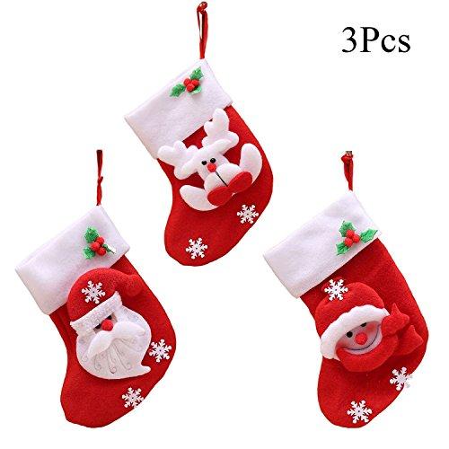 HMILYDYK 3Pcs Christmas Santa Stockings Decorations Hanging Candy Gift Bag Socks Kitchen Tableware Holders Set Cutlery Bags for Home Garden Decor