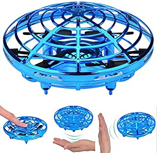 Teepao UFO Flying Ball Toys,  Mini Quadcopter Drone Auto-Avoid Obstacles Helicopter Ball with 360°Rotating LED Lights for Kids, Adult (Blue)