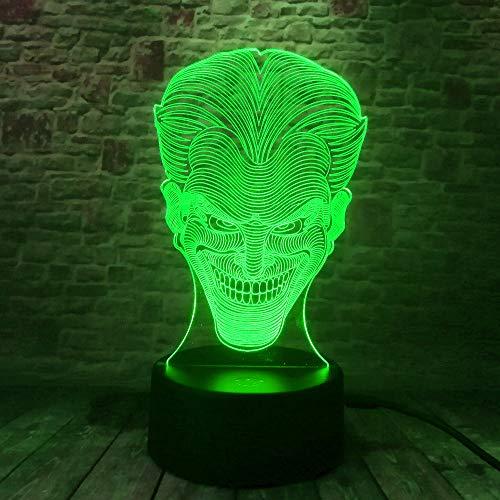 HHANN 3D Illusion Lampe Led Nachtlicht Lampen, Character Lächelndes Gespenst Optische Nachtlichter Tischlampe Kinder Nachttischlampe 16 Farben Ändern Schreibtischlampe Mit Usb-Kabel