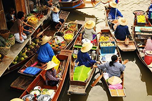LYWUSUZE Pintura por Número para Niños Mercado De Barcos Estar Dormitorio Único Decoración De Pared 60x75cm