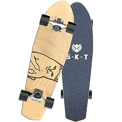 VOMI SFRMUT Principiante Tablas de Skate Cruiser Skateboard de 7 Capas de Madera de Arce Boards Completas Retro Surfskate Vintage, Skate con Rodamientos ABEC-9, Adultos Unisex, 27