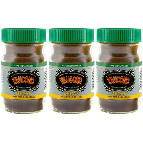 Yaucono Instant Decaf Coffee in Glass Jar, 3.6 Ounce (Pack of 3)