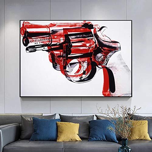 SHENLANYU Pintura Abstracta Pistola Impresiones en Lienzo Carteles e Impresiones Cuadro artístico de Pared Estilo nórdico Sala de Estar Decoración del hogar 23.6'x 35.4' (60x90cm) Sin Marco