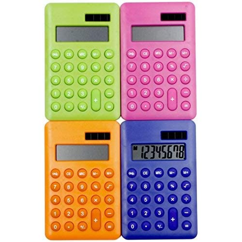 Calculator x Four - Hand Held Pocket Mini Small - School/Kids/Home/Office/Nurses- Solar/Battery - Basic Fully Functional - 8-Digit Display - Parties/Gifts/Events