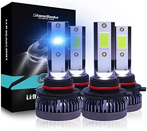 9005 9006 Led Headlight Bulbs Combo 5000LM 40W 8000K Iced Blue Day Time Running Lights COB Chips product image