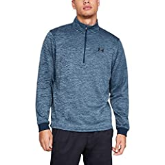 Armour Fleece is light, breathable & stretches for superior mobility Soft inner layer traps heat to keep you warm & comfortable Generous front 1/2 zip with stand collar Ribbed cuffs Dropped, shaped hem