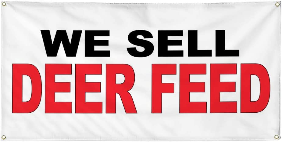 Vinyl Banner Multiple Sizes We OFFicial store Sell Food Price reduction Feed Deer Red Black Bar