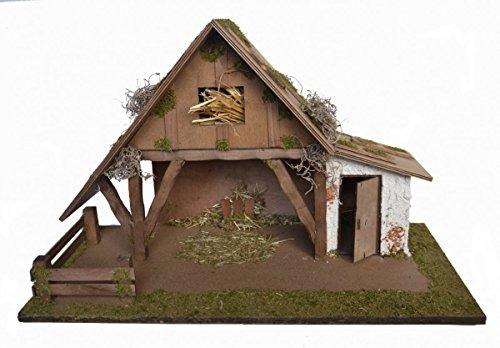 CV Weihnachts-Krippe Holz Krippen-Stall Nevio ohne Figuren 57 x 30 x 35 cm Handarbeit aus Bayern