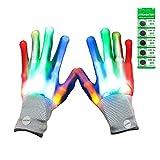 Gialer Light Up Gloves, 5 Colors LED Gloves for Kids, Cool Toys Led Glove for Halloween, Dance Costumes, Kids Gift, Boys Gift, Light-up Party.