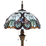 Tiffany Style Floor Standing Lamp W16H64 Inch Green Blue Floral Stained Glass Shade 2E26 Antique Reading Lighting Resin Base S802 WERFACTORY Lamps Bedroom Living Room Bedside Coffee Table Lover Gift