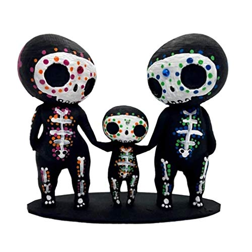 Sugar Skull,Crneo de azcar, Resina Pareja Estatua Decoracin,Estatua de Pareja de Calavera de Azcar,Ideal para Decoracin en Casa,Oficina, Dormitorio (Familia, Talla nica)