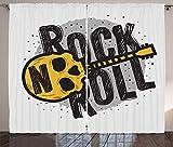 Tr674gs Juego de cortinas Rock and Roll para ventana, diseño de guitarra en...