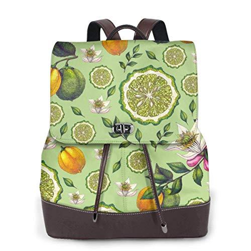 Yuanmeiju Womens Fashion Backpack Seamless Watercolor Bergamot Shoulder Schoolbag Leather Laptop Bag Girls
