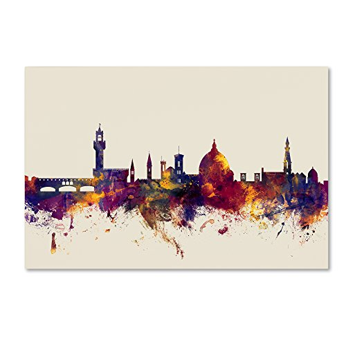 Florence Italy Skyline by Michael Tompsett, 12x19-Inch Canvas Wall Art