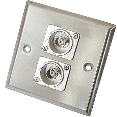 Brushed Steel Twin (2x) BNC Female/Socket Metal Wall Face Plate Outlet – CCTV Camera, Security, DVR Video, TV, Coaxial, Audio - CableFider