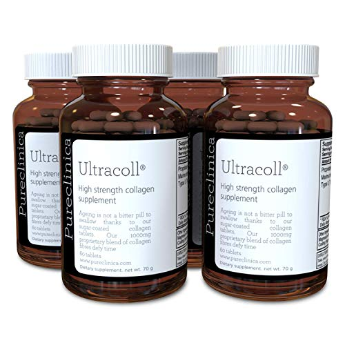 Collagene marino UltraColl 1000mg x 720 compresse (4 bottiglie da 180 compresse - 1 - 2 anni di fornitura). L'unico collagene anti-invecchiamento brevettato di tipo I, II, III e VII. SKU: UC3x4