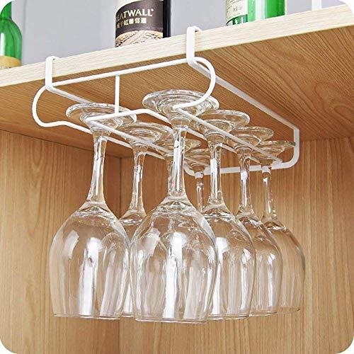 HSXQQL Botellero Estante de Almacenamiento de Copas de Vino de Cocina, Armario de Doble Fila Colgador de Gancho para Colgar Copas de Vino, Estante de Soporte de Vidrio Debajo del Estante EST