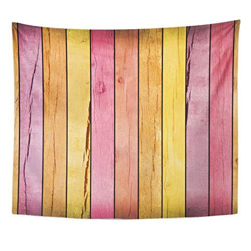 N\A Blaues Holz Rosa Zaun farbige gelbe Holzplanke Braun Home Decor Wandbehang für Wohnzimmer Schlafzimmer Wohnheim Zoll