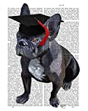 Feeling at home CANVAS-FRAMED-with-AMERICAN-BOX-Graduation-French-Bulldog-Animals-wall-decore-on-wood-frame-Vertical-27x21_in