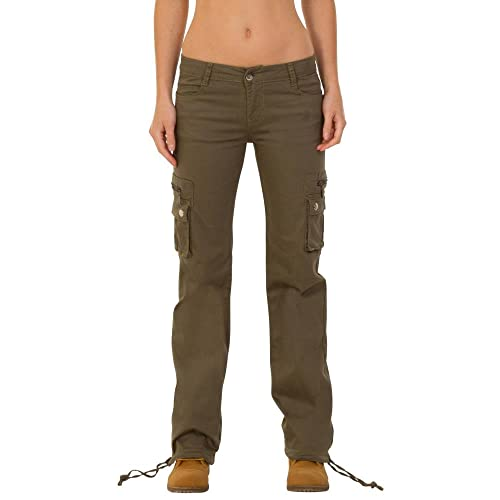 9ccea86f66b6a3 Glamour Outfitters Wide Leg Stretch Cargo Pants Combat Trousers - Green