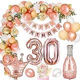 30 Globos Cumpleaños Decoracione Oro Rosa para Mujeres, MMTX Látex Globos Oro Rosa Pancarta de Feliz Cumpleaños Foil Globos Número 30 para Adultos Niñas Decoración de Fiesta