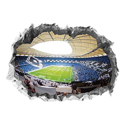 Hamburger SV Wandtattoo - Volksparkstadion | 3D-Effekt, Leuchtet im Dunkeln | HSV Fanartikel [70x100cm]