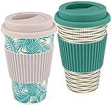 com-four® 2X Taza de café para Llevar Hecha de bambú - Taza de café para Llevar - café para...