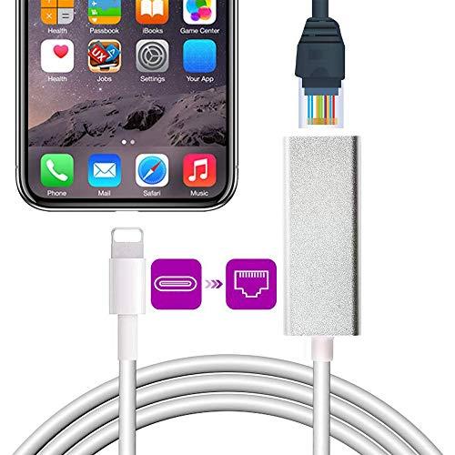 Amatage Ethernet zu Lightening für Phone/ppad, RJ45-Ethernet LAN-Netzwerk, 10/100Mbps Netzwerk Pluy and Play, i-OS 10.0 oder höher für Phone 11/ Pro 11/X/XS/XR/8 Plus (Silber)
