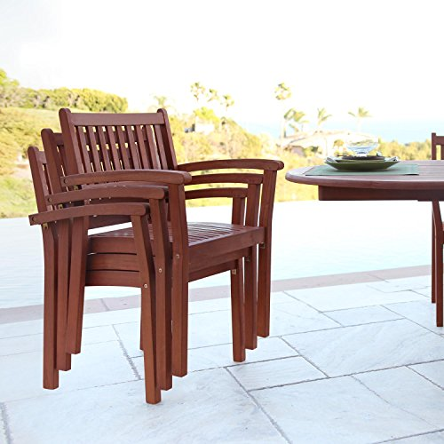 Vifah Malibu Outdoor Garden Stacking Armchair (Set of 4)