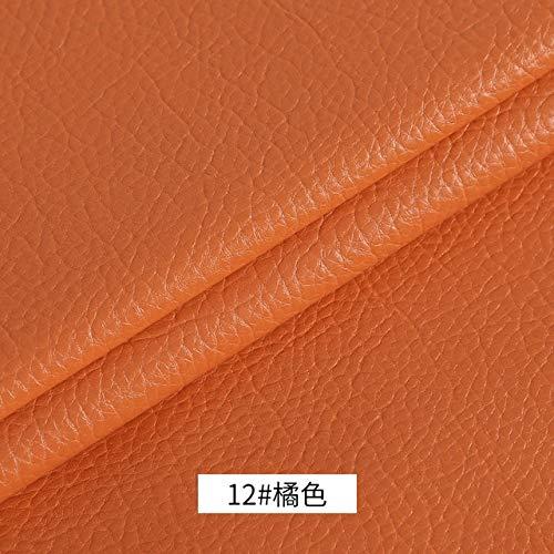 SUNYUAN Litchi PU cuero sintético sintético tela para coser arco bolsa broches sofá coche DIY material 50x120cm