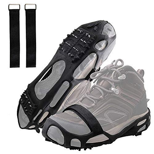 MAILIER Empuñaduras de nieve de hielo, antideslizantes, tracción con 24 pinchos de acero, tacos de tracción, zapatos y botas de invierno, para senderismo, pesca, escalada, caminata (L)